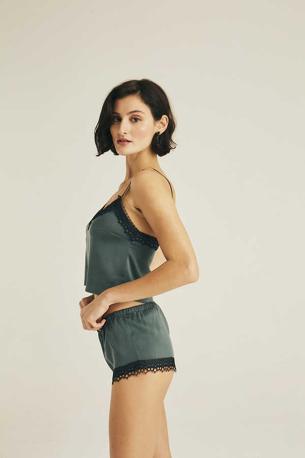 Hofsilk - Silk Lace detail short Green