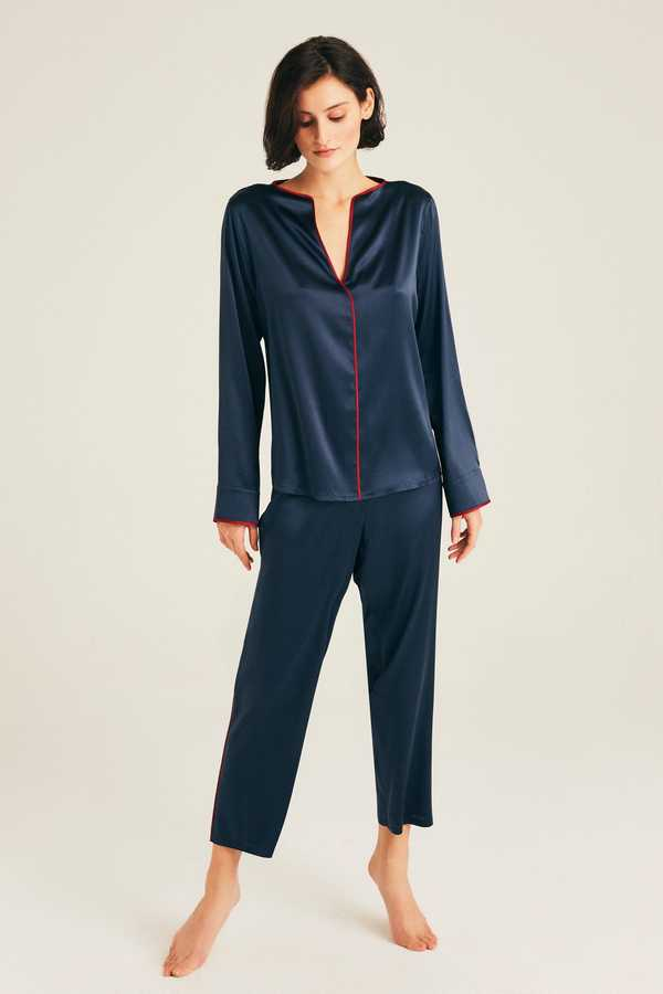 Hofsilk - Silk LENA Pyjama Pants Dark blue with red piping