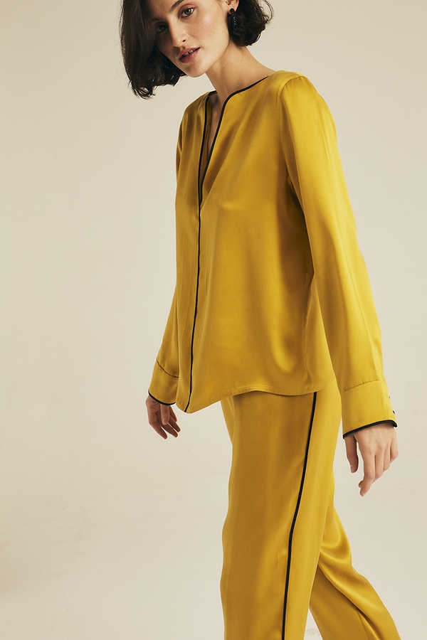 Hofsilk - Silk LENA Pyjama Pants Mustard with black piping