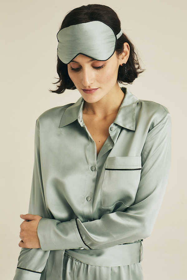 Hofsilk - Silk Lila Nightblue Blouse Watergreen