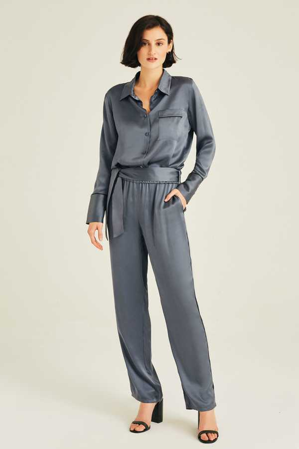 Hofsilk - Silk Lila Nightblue Pants Soft blue
