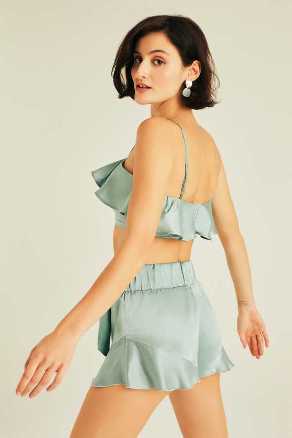Silk NINA High-waisted Ruffled Short with Ribbon Tie Detail Watergreen