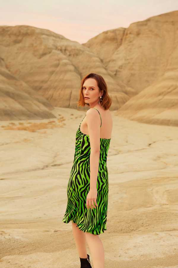Hofsilk - Silk Zebra Print Slip Dress Neon