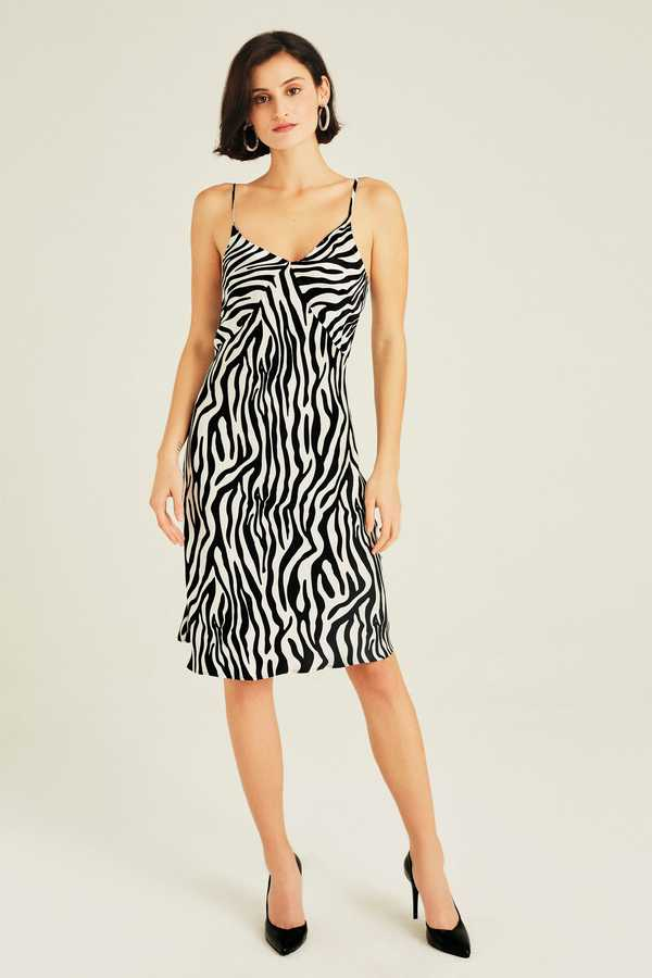 Hofsilk - Silk Zebra Print Slip Dress White