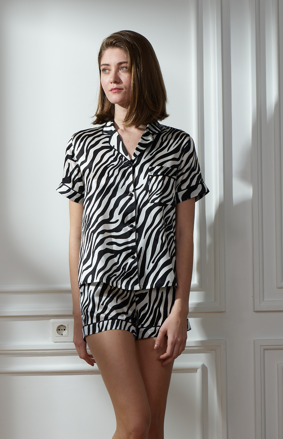 Hofsilk - Silk Zebra Short Pyjama Suit