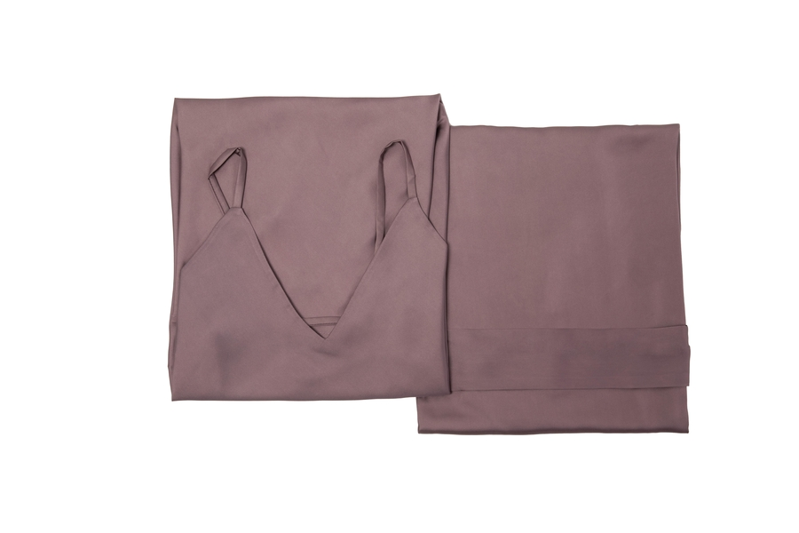 House of Silk - Silky Sateen Slip Dress & Robe Gift Set Purple (1)