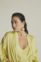 House of Silk - Silky Sateen Lime Yellow Robe (1)