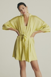 House of Silk - Silky Sateen Lime Yellow Robe