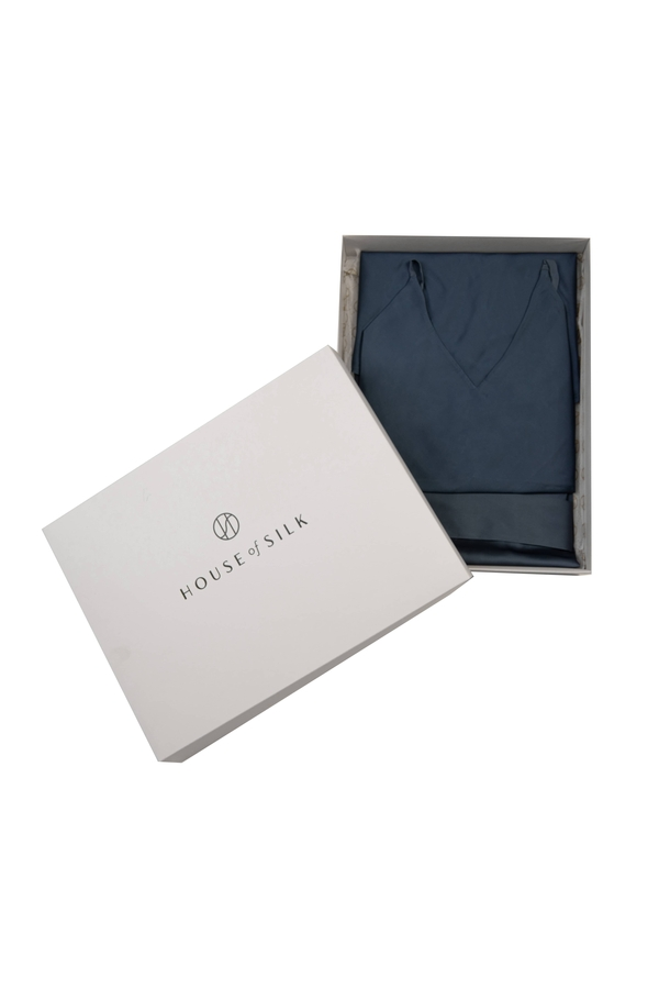 House of Silk - Silky Sateen Slip Dress & Robe Gift Set Blue-Grey