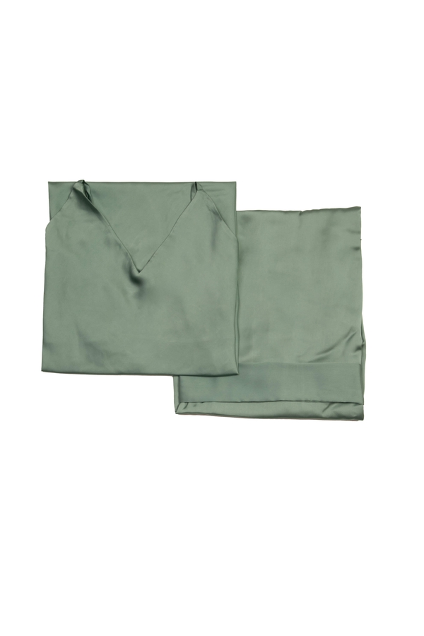 House of Silk - Silky Sateen Slip Dress & Robe Gift Set Watergreen (1)