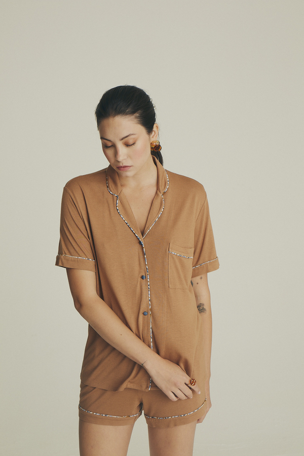 House of Silk - Soft Brown Short Pyjama with blue pattern piping