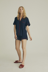 House of Silk - Soft Navy Blue Short Pyjama with red piping