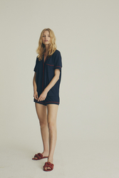 House of Silk - Soft Navy Blue Short Pyjama with red piping (1)