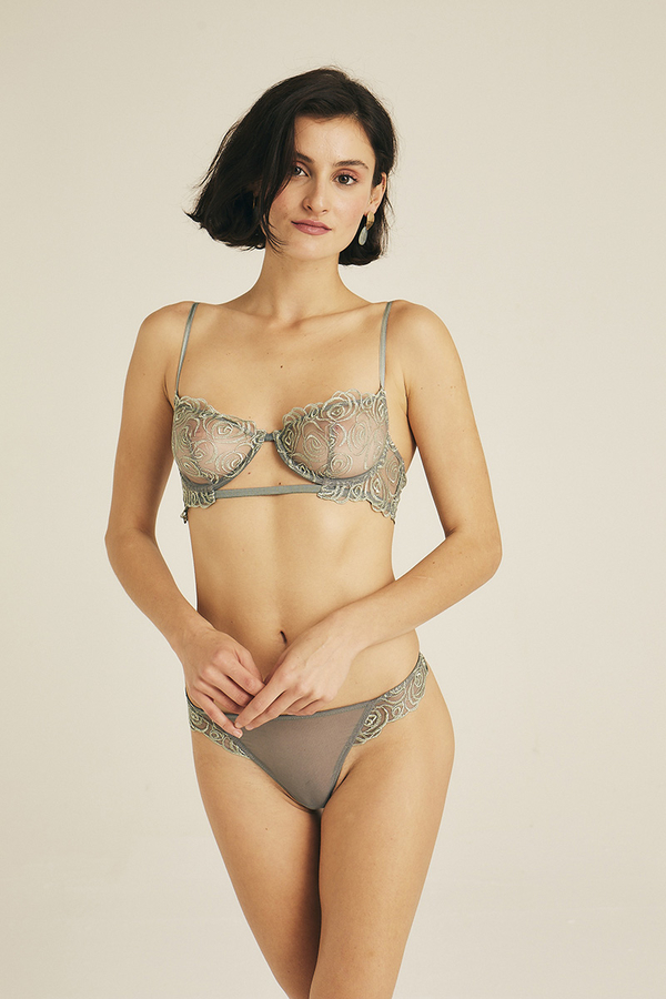 Hofsilk - Spiral Lace Balconette Bra Watergreen