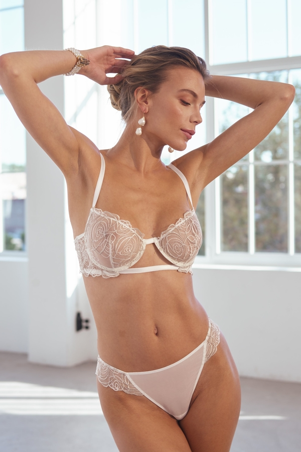 House of Silk - Spiral Lace White-Gold Lace Thong