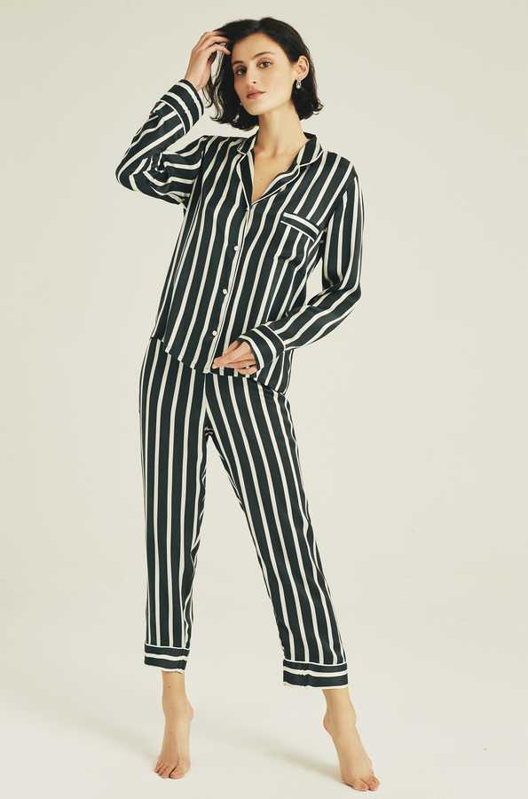 Hofsilk - Silk Timeless Stripes Pyjama Suit Darkgreen