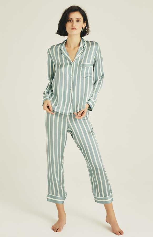 Hofsilk - Silk Timeless Stripes Pyjama Suit Skyblue