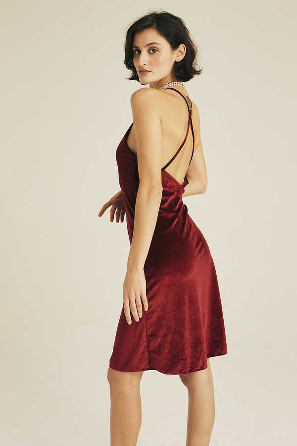 Hofsilk - Velvet Slip Dress Red
