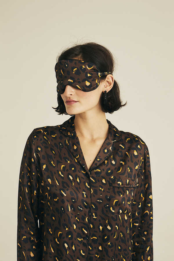 Hofsilk - Viscose Animal Print Sleeping mask Brown