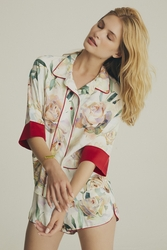 House of Silk - Viscose Bellini Short Suit with Silk sleeve