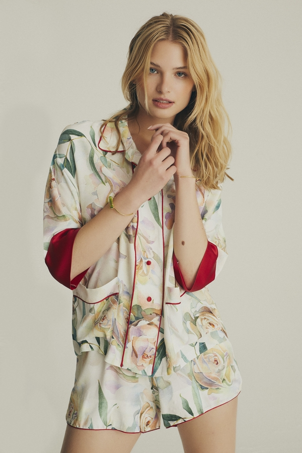 House of Silk - Viscose Bellini Short Suit with Silk sleeve (1)