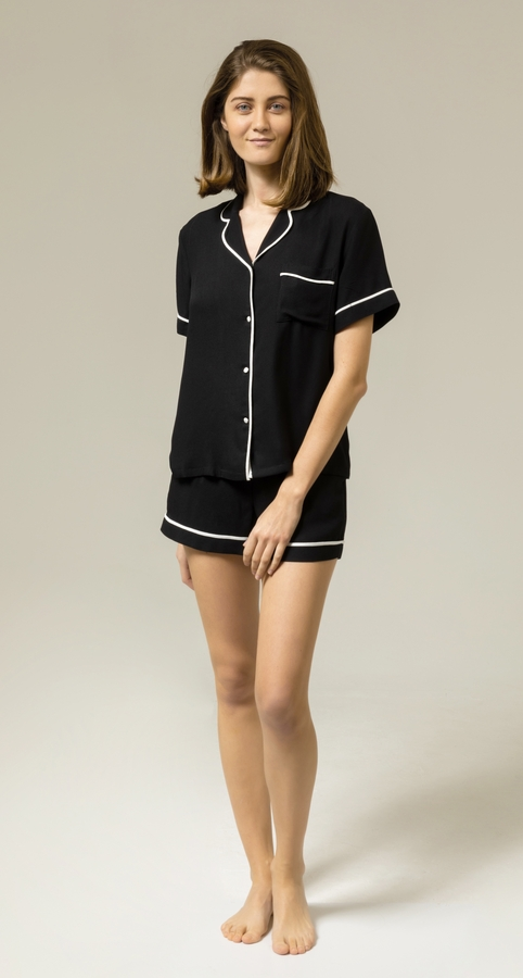 Hofsilk - Viscose Black Short Pyjama Suit