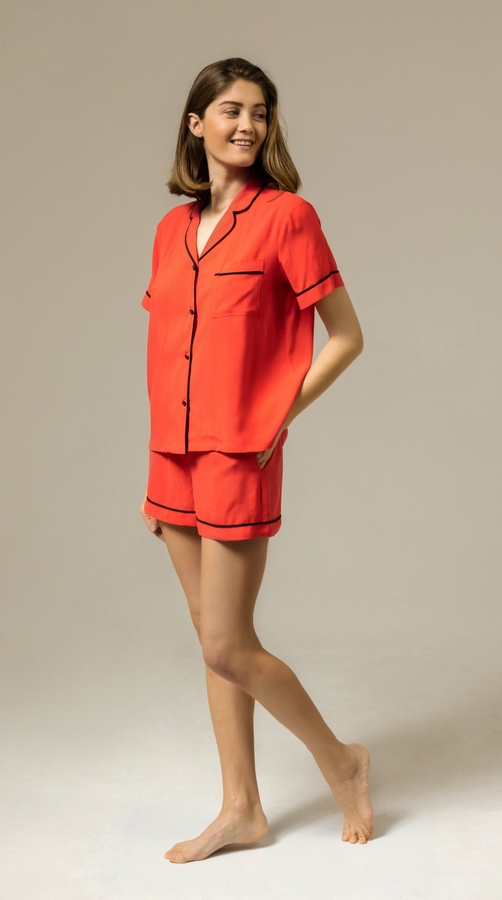 Hofsilk - Viscose Red Short Pyjama Suit